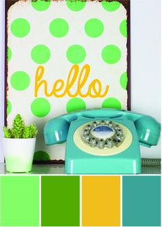 Buntes Stillleben - Farbpalette Grün und Gelb - Tweed & Greet