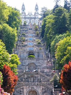 Santuario Nossa dos Remedios. Lamego, Portugal. Leading up to the church which sits on top of the hill is an impressive set of 686 stairs, you can see the view looking down. Just try to imagine how the religious zealots do it on their knees.