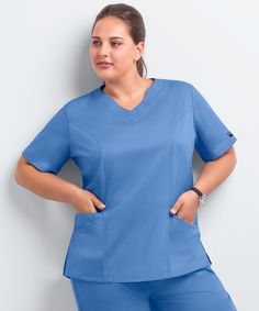 For the fuller figure, try the UA Butter-Soft STRETCH Plus Size Scallop Neck Scrub Top. Buy fabulous plus size scrubs at Uniform Advantage today! Jeans For Tall Women, Scrubs Pattern, Yoga Scrub Pants, Navy Blue Scrubs, Plus Size Yoga, Medical Uniforms, Womens Scrubs, Yoga Pants Outfit, Drawstring Pants