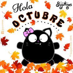Hola Octubre! #guyuminos #blackcat #octubre #hola #tarjetas #gif #frases #kawaii