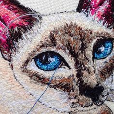A close up on my machine embroidered art canvas / pet portrait Free Motion Embroidery, Custom Embroidery, Embroidery Art, Thread Art, Needle And Thread, Pet Portraits, Close Up, Canvas Art, Owl