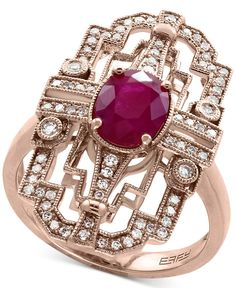 Effy Amore Ruby (1-3/8 ct. t.w.) and Diamond (1/4 ct. t.w.) Statement Ring in 14k Rose Gold