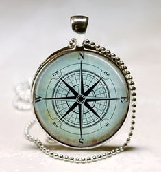 Long Necklaces – Jewellery Wind Rose Compass Blue Pendants Metal – a unique product by MadamebutterflyMeagan on DaWanda