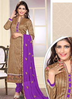 Add a vibrant burst of colour with your wardrobe with this purple jute silk designer straight salwar kameez. Look ravishing clad in such a attire which is enhanced embroidered and resham work. Comes w...