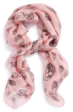 Wrapping up with this pink and grey Alexander McQueen 'skull' chiffon scarf.