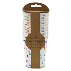 Diese süßen Pappteller im Punktedesign sind die perfekte Tischdekoration auf einer Zirkus oder Zoo Party Die Meri Meri - Pappbecher Toot Sweet Punkte bunt gibt es bei www.party-princess.de. Kindergeburtstag