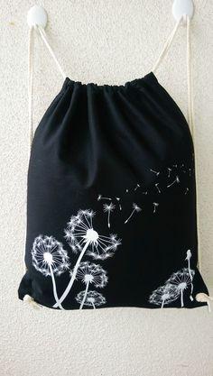 Turnbeutel/Rucksack schwarz Motiv Pusteblume hochwertiger Siebdruck  Ein vielseitiger Zuziehbeutel aus besonders hochwertiger Baumwolle, mit zwei kräftigen Kordeln zu schnüren – äußerst...