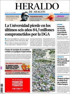Los Titulares y Portadas de Noticias Destacadas Españolas del 13 de Abril de 2013 del Diario Heraldo de Aragon ¿Que le parecio esta Portada de este Diario Español?