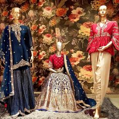 Jayanti Reddy label now at dubai in scintillating colors and patterns.<br>Gold dhoti pants and peplum top combination dress and navy blue benaras lehenga with red top and navy blue dupatta and navy blue sharara in gold thread work all over.                  01 December 2017