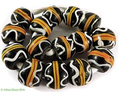 15 Venetian Trade Beads Black Yellow Striped Africa Loose -- Continue to the product at the affiliate link Amazon.com.