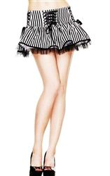 Hell Bunny Laura Black and White Striped Mini Skirt
