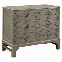 """Wood chest with carved detail drawers in taupe.     Product: ChestConstruction Material: WoodColor: TaupeDimensions: 35"""" H x 40"""" W x 20"""" D"""