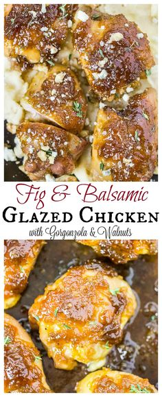 Fig & Balsamic Glazed Chicken Thighs with Gorgonzola, Thyme & Walnuts. Fig & Balsamic Glazed Chicken Thighs with Gorgonzola, Thyme & Walnuts. Great Recipes, Dinner Recipes, Favorite Recipes, Balsamic Glazed Chicken, Balsamic Onions, Fig Balsamic Vinegar, Roasted Chicken, Baked Chicken, Fig Sauce