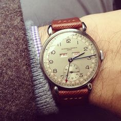 1940s #Vacheron triple calendar back on my wrist after a 6 month visit to the spa. Just in time for #sihh2014.