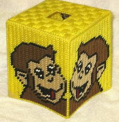Free Plastic Canvas Tissue Box Patterns | Curious George Tissuebox Cover Plastic Canvas Pattern | eBay