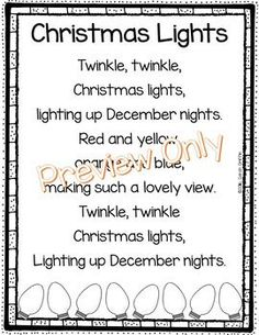 Christmas Lights poem for kids | Christmas song | sight words | poem of the week | holiday poems | poetry notebook | twinkle twinkle