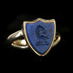Gold and Lapis shield intaglio ring 13x10mm