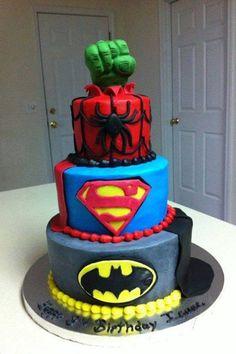 Grooms cake- replace batman & superman with Thor & Iron man