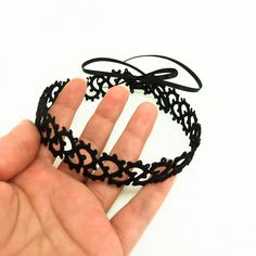 black lace choker, or bracelet
