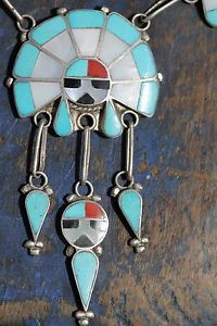 Vintage Zuni Sterling Silver Turquoise Sunface Sungod Necklace R Lateyice | eBay