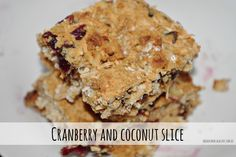 Cranberry and coconut slice, healthy snack recipe