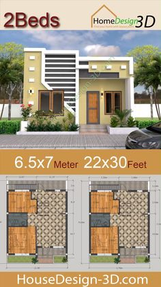Small House Design Meter with 2 Bedrooms 2230 feet House Layout Plans, My House Plans, Small House Plans, House Layouts, Small House Layout, House Front Wall Design, Duplex House Design, 2 Bedroom House Design, Modern Small House Design