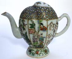 Chinese Famille Verte Porcelain Puzzle Teapot. 19th c.