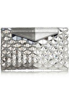 ca482204e2a8 Fendi - Evening embellished metallic textured-leather clutch