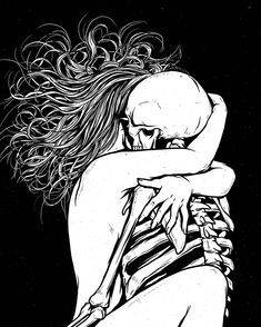 Kiss of Death There is a way which seemeth right unto a man, but the end thereof are the ways of death. Trippy Wallpaper, Dark Art Drawings, Cute Couple Art, Skeleton Art, Grunge Art, Arte Horror, Sketch Inspiration, You Draw, Skull Art