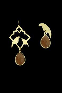 "ALANGOO - 24k handmade, gold-plated ""Gol O Morgh"" earrings with aghigh"