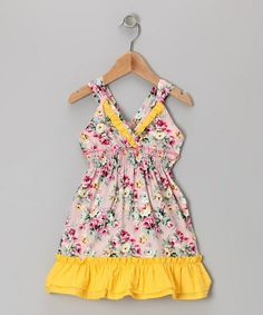 This Yellow & Pink Floral Ruffle V-Neck Dress - Toddler & Girls by Lele Vintage is perfect! #zulilyfinds