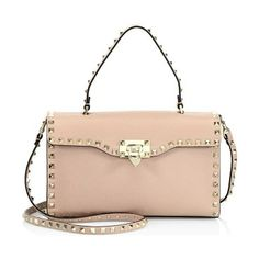 small rockstud leather top-handle satchel by Valentino. Pebble leather  satchel outlined with iconic 9ca9a55b506e