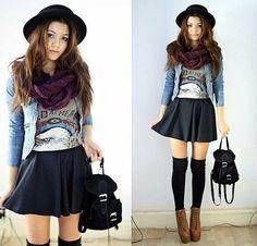 socks, skirt, tshirt