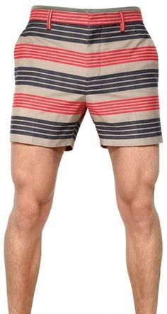 0d79cb01c3 Striped Print Cotton Canvas Shorts - Lyst Short Shorts, Stripe Print,  Clothing Items,