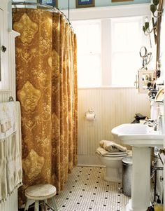 like the floor and the window, ditch the shower curtain