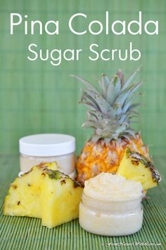 Creamy Pina Colada Sugar Scrub Recipe cup Shealoe Butter 10 tablespoons Organic Sugar 1 teaspoon Yellow Jojoba Wax Beads 2 teaspoons Yellow Beeswax 1 teaspoon of Pina Colada Plant-Based Fragrance Oil Diy Body Scrub, Diy Scrub, Body Scrub Recipe, Sugar Wax Recipe, Sugar Waxing, Sugar Scrub Homemade, Homemade Soaps, Homemade Beauty Products, Lush Products