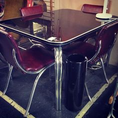 Sleek, Deco-Sytle Vintage Table and Chairs