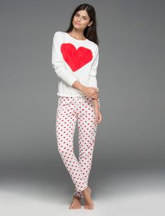 women'secret | Productos | Pijama largo polar de corazones