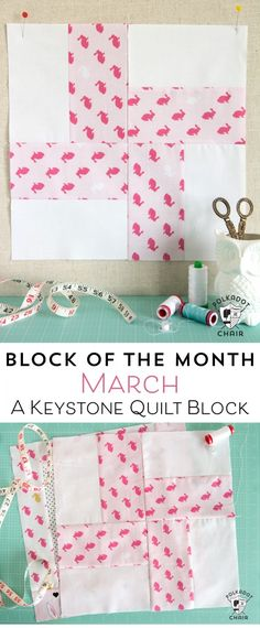 The best DIY projects & DIY ideas and tutorials: sewing, paper craft, DIY. Best Diy Crafts Ideas For Your Home Free Quilt Tutorial and Pattern for a Keystone Quilt block; the March Block of the Month offered on the Polka Dot Quilting Projects, Quilting Designs, Craft Projects, Sewing Projects, Quilt Block Patterns, Pattern Blocks, Quilt Blocks, Patch Quilt, Quilting Board
