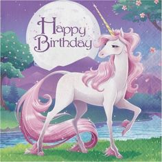 Party Creations Unicorn Fantasy Happy Birthday Lunch Napkins, 16 Ct, Multicolor