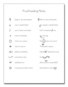 Proofreading marks p