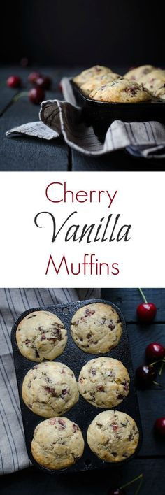 These cherry vanilla muffins are soft and delicate from buttermilk. They can be made with either sweet or sour cherries and are perfect for brunch! Get the recipe from http://SavorySimple.net