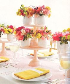 Martha Stewart Weddings: take-away centerpieces - Perhaps use white mugs and add gold dots to serve as wedding favors.