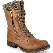 Steve Madden - Jaax - Cognac Leather Combat Boot