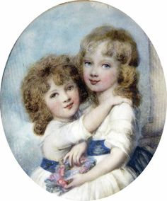 Miniature by Moses Haughton Younger.   Lady Georgina and Harriet daughters of Georgina Spencer c. 1790  watercolour on ivory   Signed on reverse with indistinct address     8.90cm /3.50 inches   Lady Georgina (1783-1858) and Harriet (1785-1862) daughters of Lady Georgina Spencer and William 5th Duke of Devonshire   Georgina married George Howard, 6th Earl of Carlisle.    The miniature is based on a portrait by Cosway, in the Spencer collection, where the sashes on the dresses are red and…