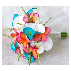 Wedding Coral Orange and Turquoise Teal Natural Touch Orchids, Callas... ❤ liked on Polyvore featuring flowers and wedding flowers