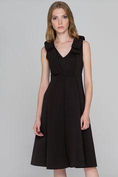 Ribbed Black Bow Princess Midi Dress - (Price: $172.00)      #fashionstyle #fashionweek #fashionable #stores #style  #shopping #dressesonline #dress #womens #womenstyle #suits