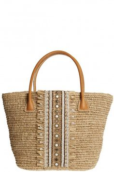 Quenby Shell Embellished Straw Tote     Calypso St. Barth