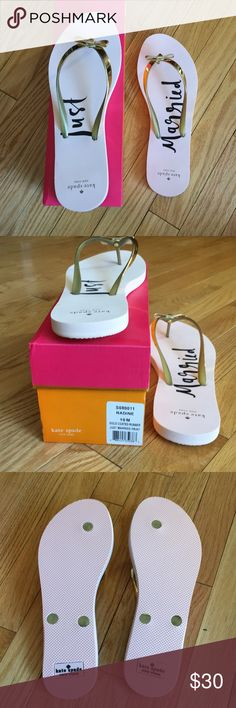 BRAND NEW Kate spade just married flip flops BRAND NEW NEVER BEFORE WORN NEW IN BOX Kate spade just married pink and gold bow flip flops. Size 10. In perfect condition just didn't realized they said just married when I bought them. 100% authentic price is firm kate spade Shoes Sandals