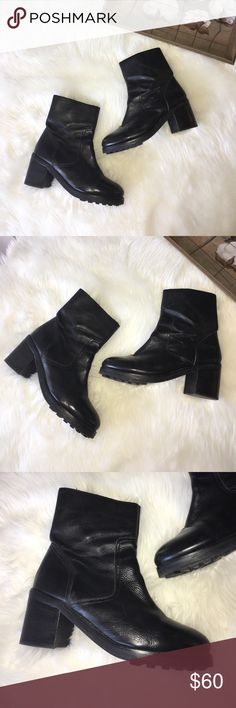 Top Black Leather Heeled Ankle Combat Boots Super chic and stylish black leather combat ankle boots by top shop in a size 91/2 in great preowned condition retail $144 Topshop Shoes Heeled Boots